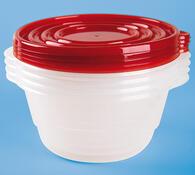 Plastové misky s víčky, 4Home, bílá + červená