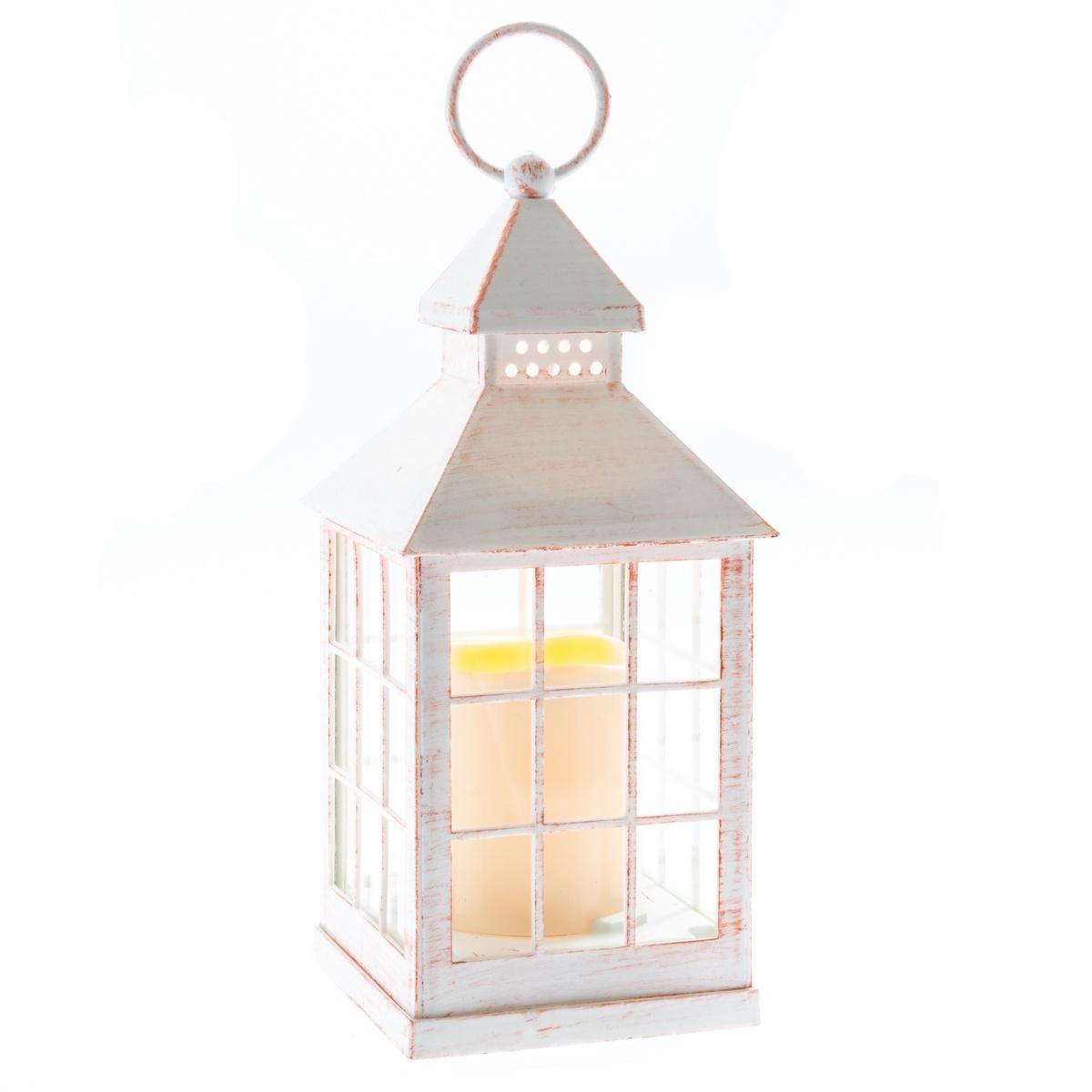 Lucerna s LED svíčkou na baterie Aube 10 x 23,5 cm, bílá