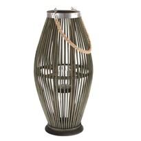 Felinar din bambus Delgada, cu sticlă, 25 x 49x 24 cm
