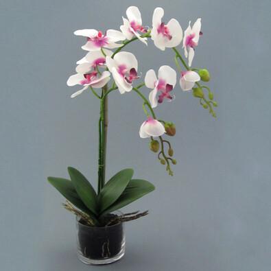Umělá květina orchidej v květináči bílá lila