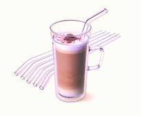Zestaw szklanych słomek ze szczoteczką do czyszczenia, wygięte 23cm, 6szt.