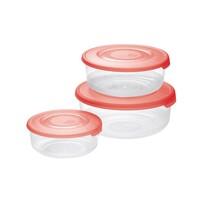 Tontarelli Sada plastových dóz na potraviny 3 ks, okrúhla, červená