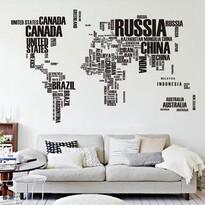 Naklejka dekoracyjna Mapa Świata z liter