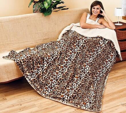 Beránková deka s leopardím potiskem, 150 x 200 cm