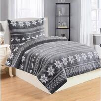 Lenjerie de pat Winter Grey, din micro-pluș, 140 x 200 cm, 70 x 90 cm