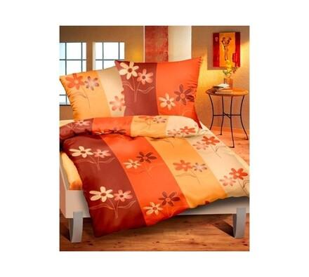 Flanelové povlečení Zahrada oranžová, 140x200, 70x, oranžová, 140 x 200 cm, 70 x 90 cm