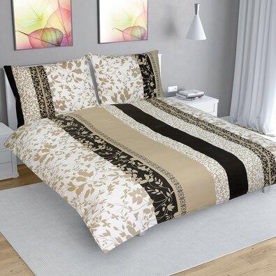 Levelek pamut ágynemű, bézs, 200 x 220 cm, 2 db 70 x 90 cm