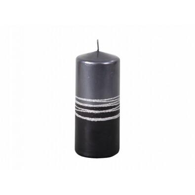 Vánoční svíčka Lumina Silver válec, černá