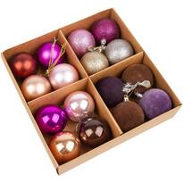 Set ornamente de Crăciun, Melide, violet, 16 buc., diam. 4 cm