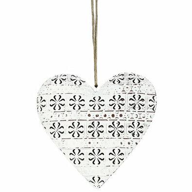 Felakasztható fém dekoráció Cloverleaf heart, 14 cm