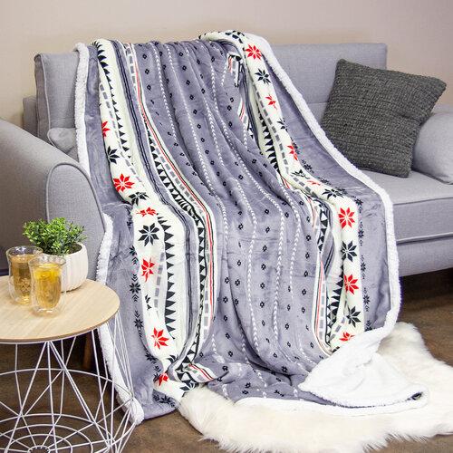 Háromszög bolyhos takaró, szürke, 150 x 200 cm
