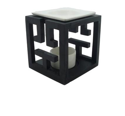 Aromalampa dřevěná černá