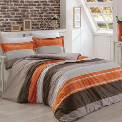 Bavlnené obliečky Delux Stripes lososová, 240 x 200 cm, 2 ks 70 x 90 cm