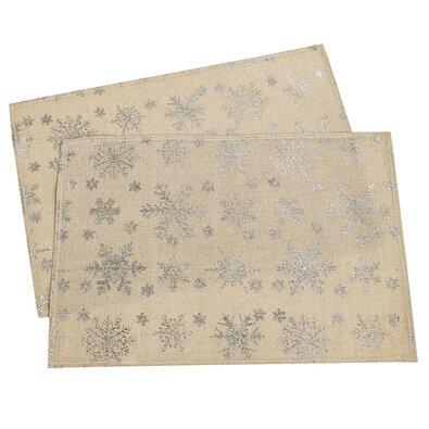 Hópehely karácsonyi alátét, arany, 32 x 45 cm, 2 db-os szett