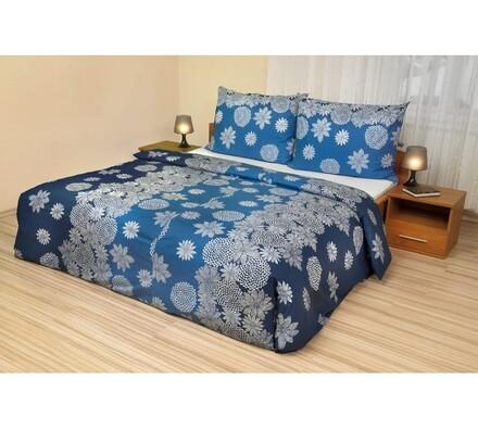 Bavlněné povlečení Vločky na modrém, 140 x 220 cm, 70 x 90 cm