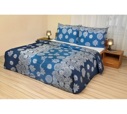 Bavlněné povlečení Vločky modrá, 140 x 200 cm, 70 x 90 cm
