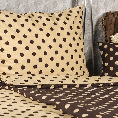 4Home Bavlněné povlečení Puntík Čokoláda, 220 x 200 cm, 2 ks 70 x 90 cm