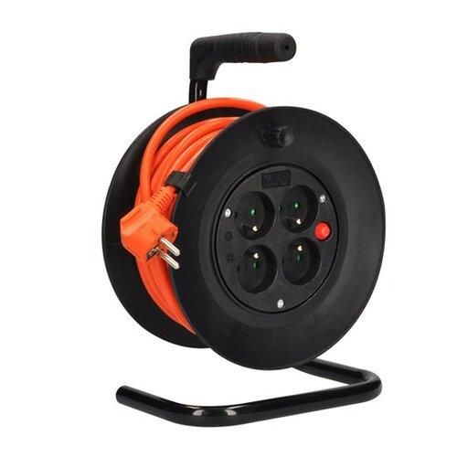 Solight PB23O 4z prodlužovací přívod - na bubnu, 15m, oranžový kabel