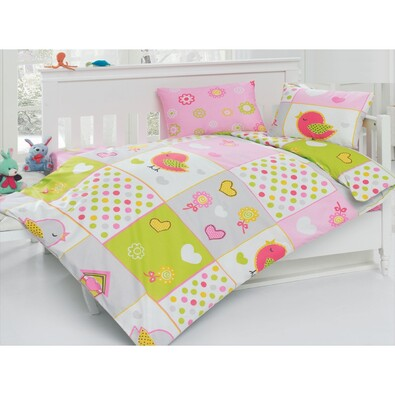 Lenjerie de pat Păsări, din bumbac, pentru copii, 100 x 135 cm, 40 x 60 cm