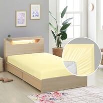 Cearceaf de pânză cu elastic, galben, 90 x 200 cm