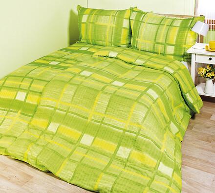 Krepové povlečení Peggy zelená, 140 x 200 cm, 70 x, zelená, 140 x 200 cm, 70 x 90 cm