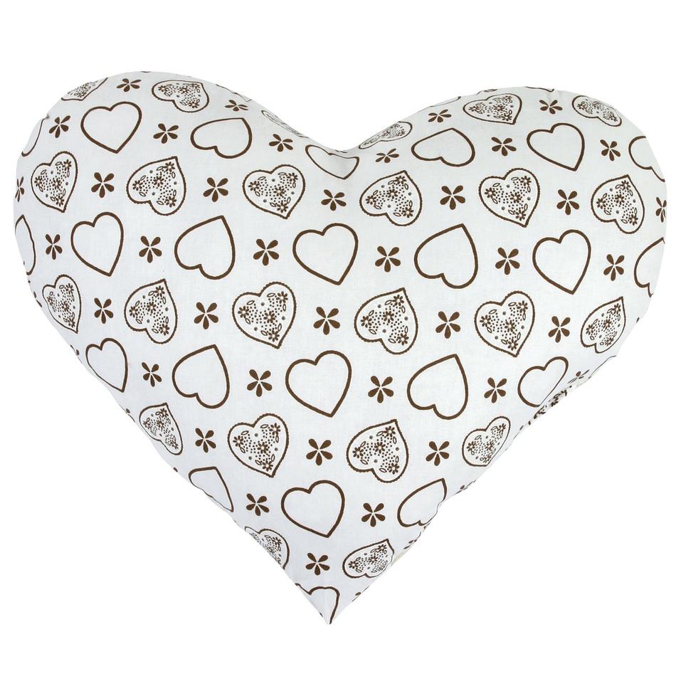 Bellatex Vankúšik Srdce hnedé na bielej, 42 x 48 cm