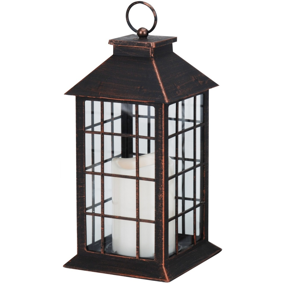 Lucerna s LED svíčkou Carré, černá