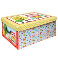 Box s víkem Owl 49 x 24 x 39 cm, žluté víko