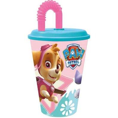 Műanyag gyerek pohár szívószállal  Paw Patrol Skye 430 ml