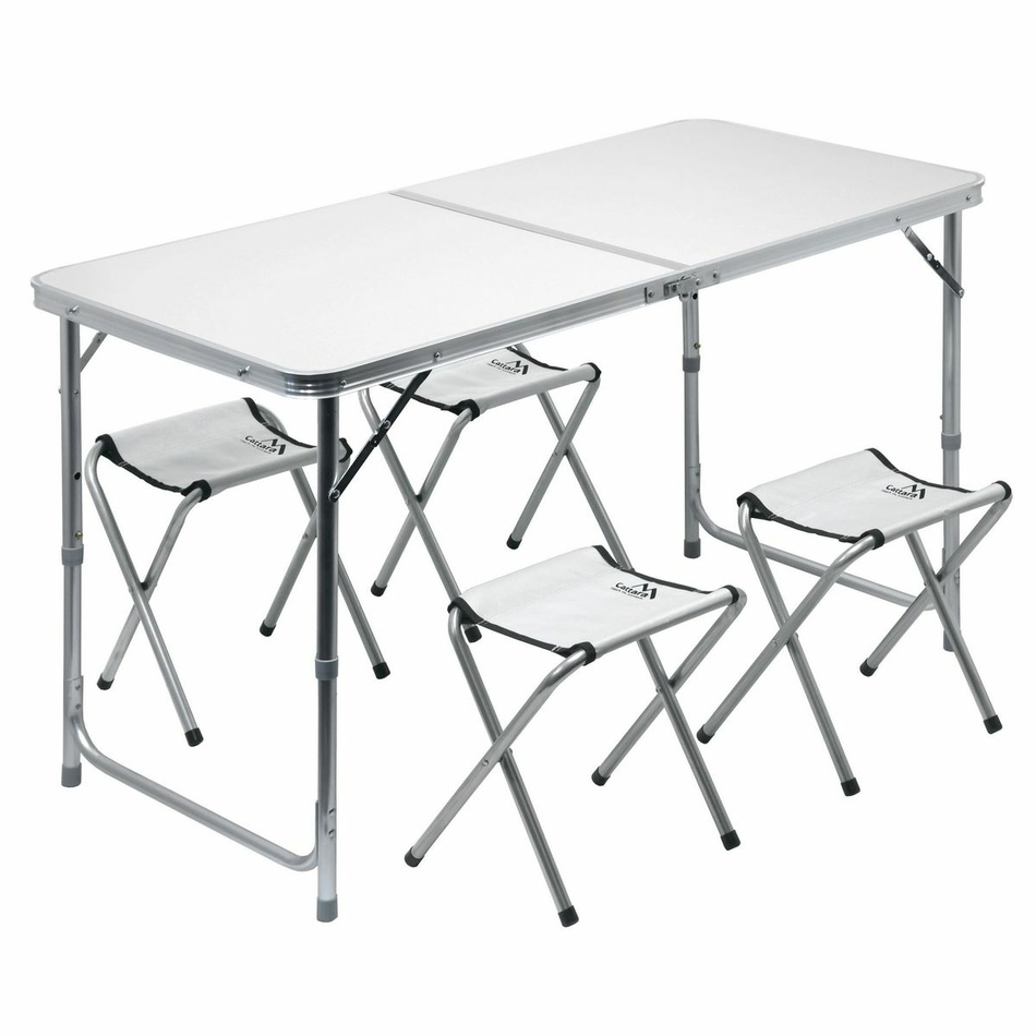 Stôl kempingový skladacia Cattara DOUBLE teleskop. šedý + 4x stolička