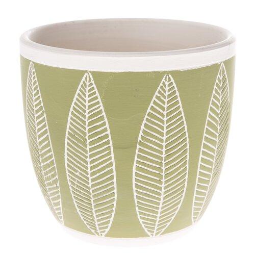 Ceramiczna osłonka na doniczkę Liście, zielony, 13,5 x 12,5 x 13,5 cm