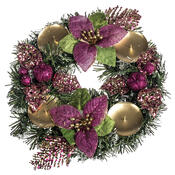 Vánoční dekorace s poinsetií pr. 25 cm, růžová