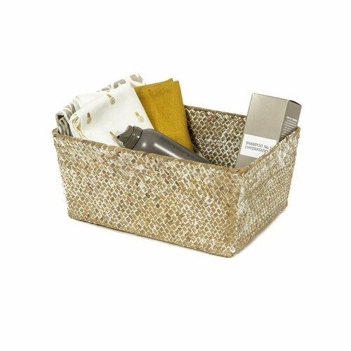 Compactor Ručne pletený úložný košík KITO 30 x 20 x 13 cm, béžová