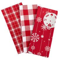 Vánoční utěrka Vánoční ozdoby červená, 45 x 70 cm, sada 3 ks