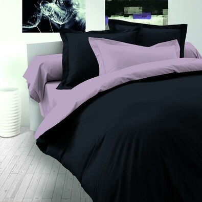 Saténové povlečení Luxury Collection černá / světle fialová, 240 x 220 cm, 2 ks 70 x 90 cm