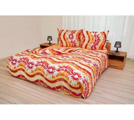 Bavlněné povlečení Vlnky žlutočervené, 240 x 200 cm, 2x 70 x 90 cm