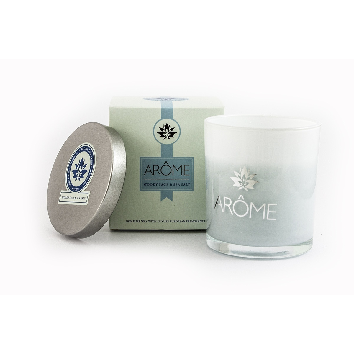 Arome Vonná svíčka s víčkem Woody sage and Sea salt, 200 g