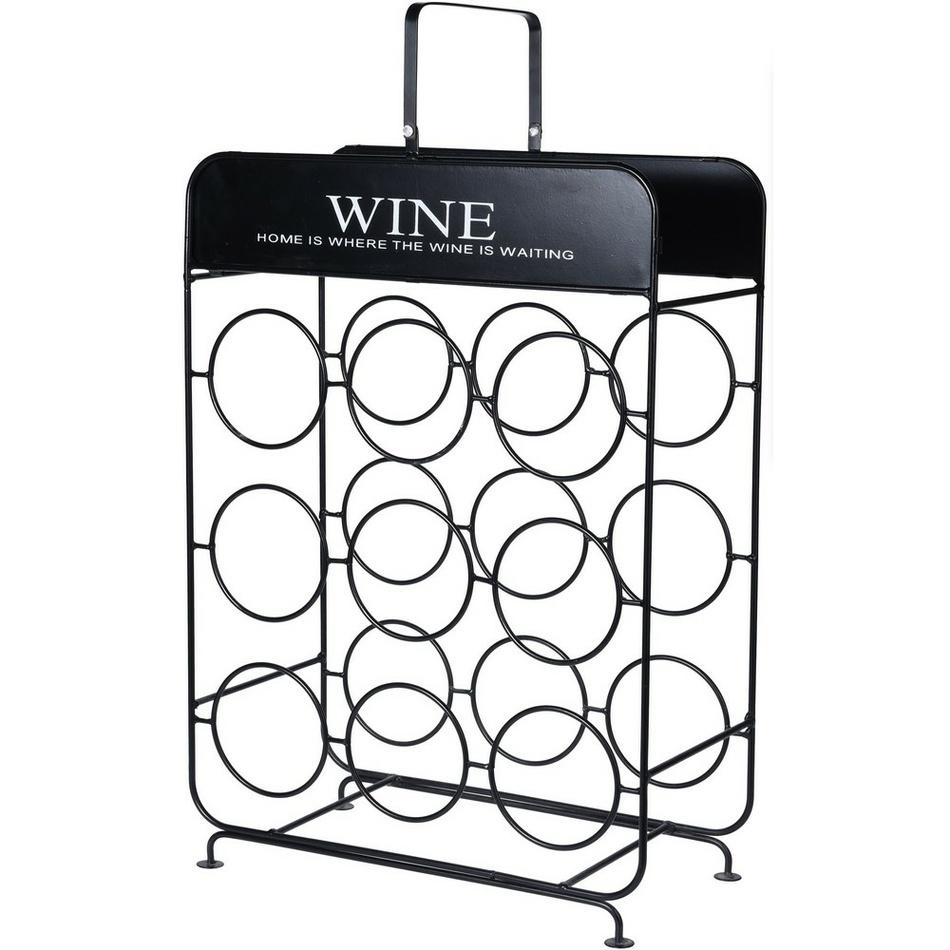 Koopman Kovový stojan na 9 láhví vína , 37,5 cm x 18 x 55 cm