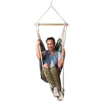 Podwieszany fotel z podnóżkiem, jasno zielony