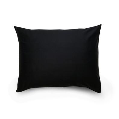 Față de pernă din satin culoarea negru _ ivory, 70 x 90 cm
