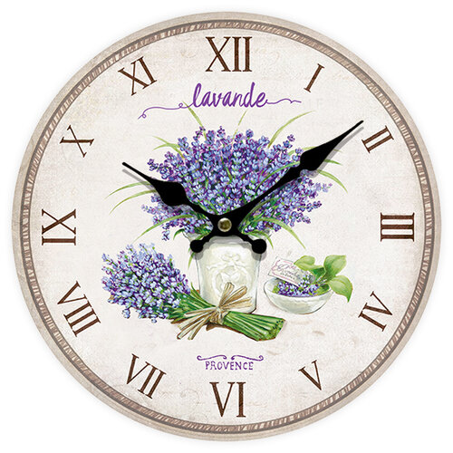 Nástenné hodiny Lavande Provence, pr. 34 cm