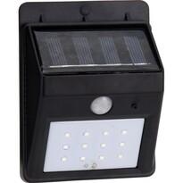 Kültéri napelemes fali lámpa  szenzorral fekete, 12,5 cm