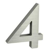 Număr aluminiu de casă suprafață șlefuită 3DRN.100LV.4.AL.3D