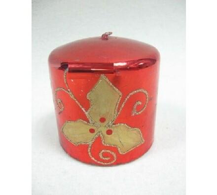 Vánoční svíčka červená, 7,5 x 7 cm, červená, 7,5 x 7 cm