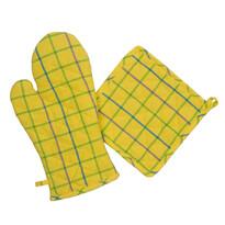 Rękawica kuchenna i podkładka żółto-zielony, zestaw 2 szt.