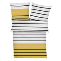s.Oliver szatén ágynemű 5724/950 fehér/sárga, 140 x 200 cm, 70 x 90 cm