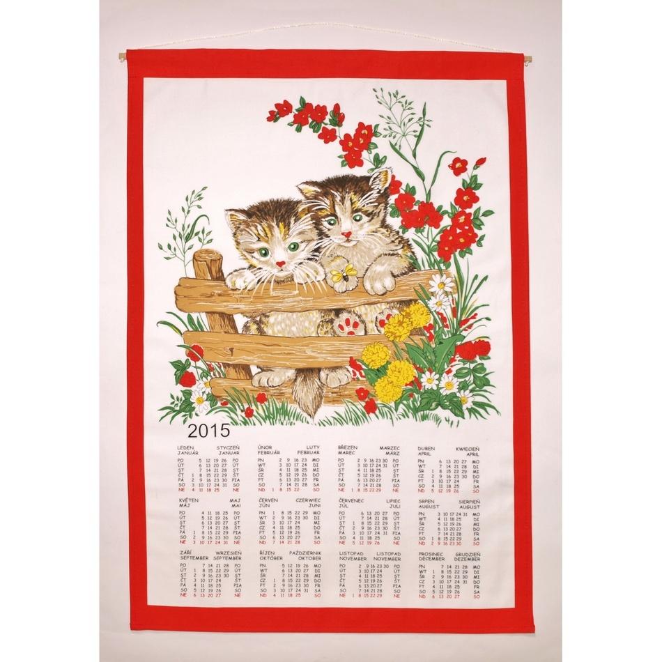 Forbyt Textilný kalendár 2015 Mačky, 45 x 65 cm
