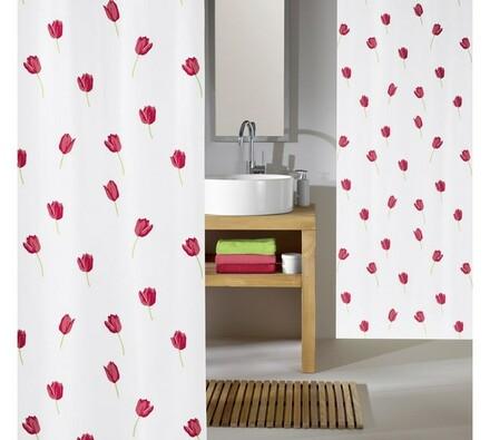 Koupelnový závěs Tulipán Meusch červená, 180 x 200 cm