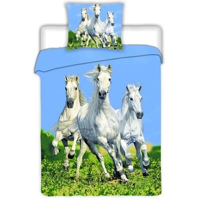 Bavlněné povlečení Koně bílé, 140 x 200 cm, 70 x 90 cm