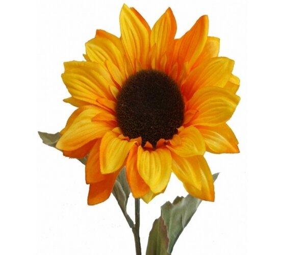 Umelá slnečnica s flokovanou stonkou a listami, 60 cm, Livo, 60 cm